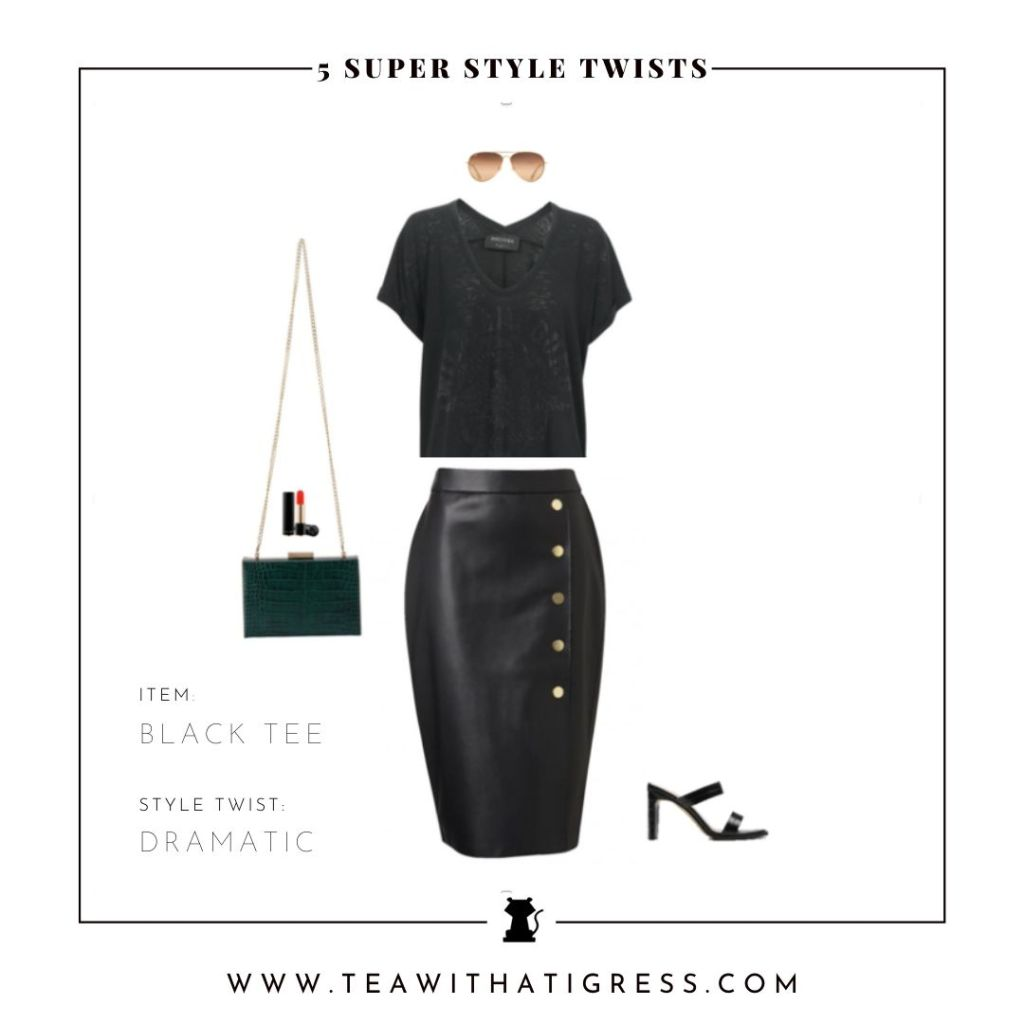 Style A Black Tee with a Leather Skirt