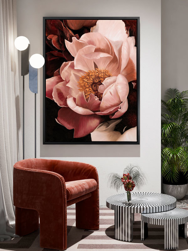 New Blooms Artwork In Living Room Setting