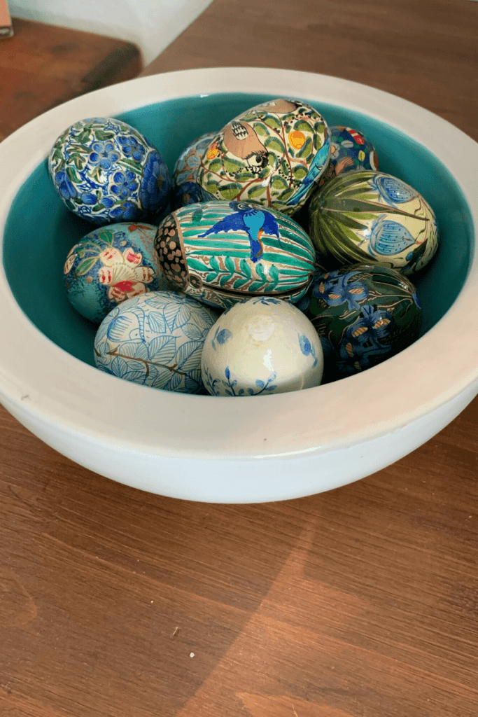 A bowl of painted eggs that I found while shopping with my Mum, part of our Scandi-inspired Easter decor