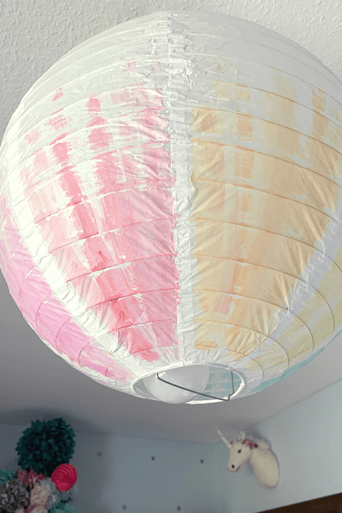 DIY Kids room projects - watercolour lightshade - side view