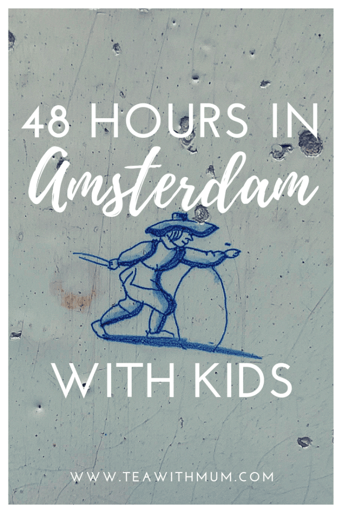 48 hours in Amsterdam with kids: image of a Delft tile with child playing with hoop: Our Lord in the Attic