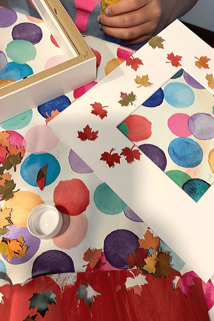 Easy DIY Autumn 'art': step 4: glue on the leaves; how to create a Fall picture frame 'snowglobe'
