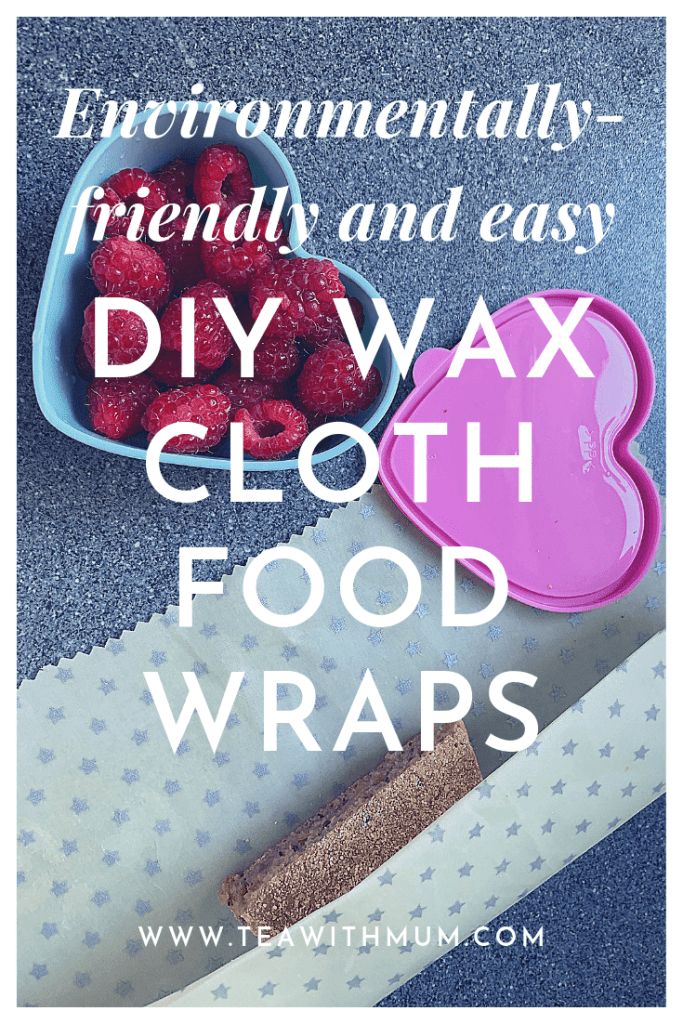 Environmentally-friendly and easy DIY wax cloth food wrap; title with image of wrap with silver stars, being used to wrap an English muffin.Image also includes fresh raspberries in heart-shaped container