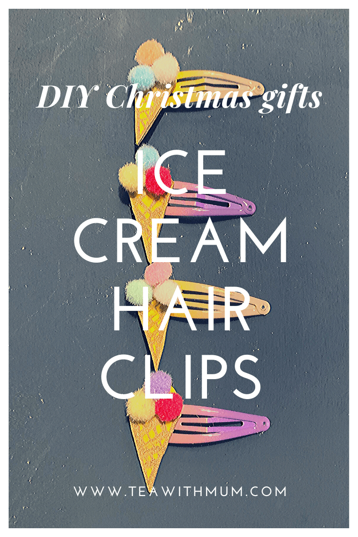 DIY Christmas gifts: ice cream hair clips; simple, quick and fun; stocking stuffers for a young girl; advent gifts