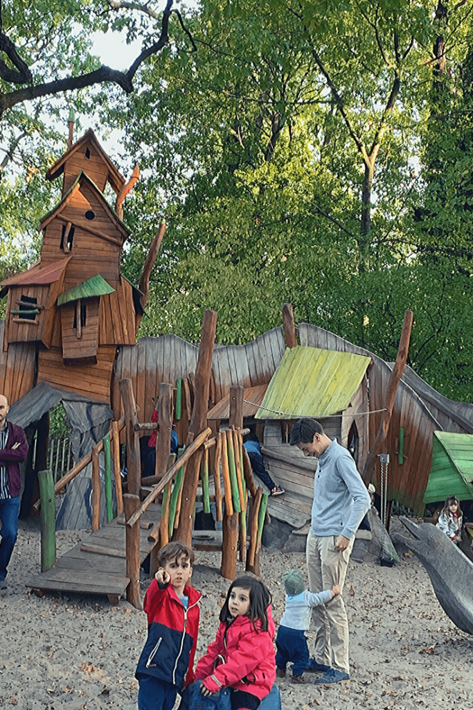Impressive and large playground at the Berlin Zoo, with different areas tailored to kids of different ages and abilities