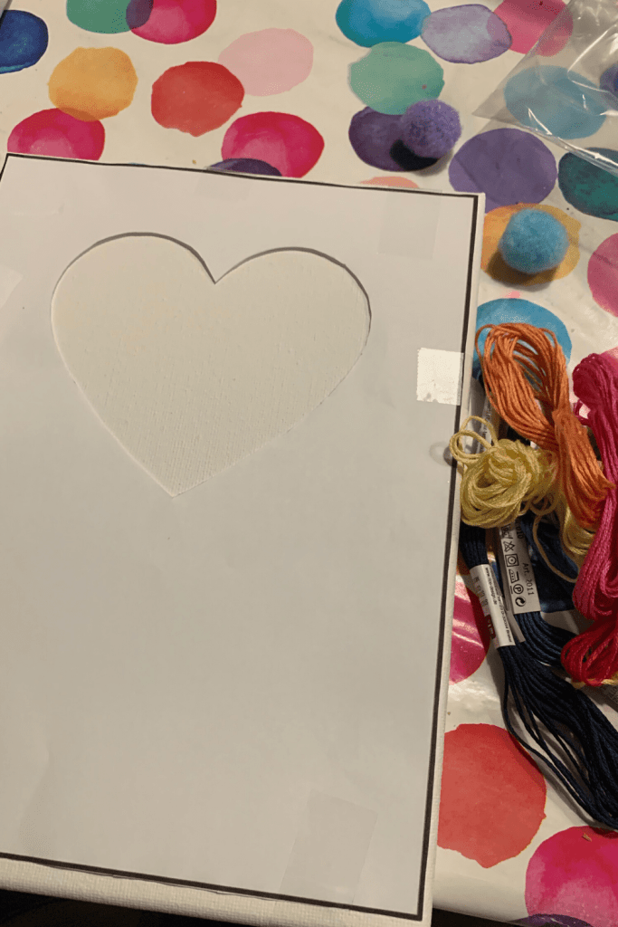 Canvas, heart stencil and some craft goods: All you need to create this simple Valentine's Day art; Wedding anniversary artwork; Fun heart art