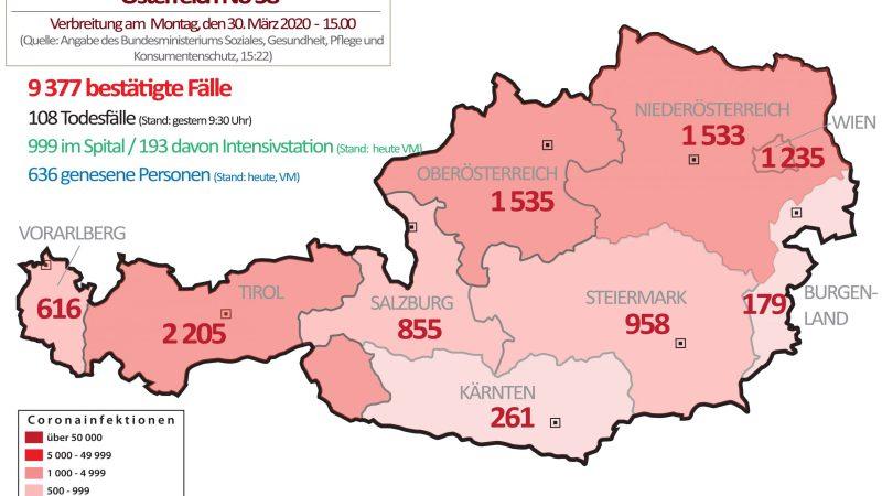+++ Tebels Coronavirus-Karte von Österreich +++ aktueller Stand: 30. März, 15.00