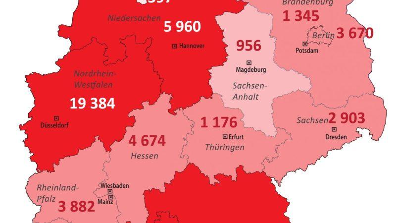 +++ Tebels Coronavirus-Karte von Deutschland +++ aktueller Stand: 6. April, 0.00