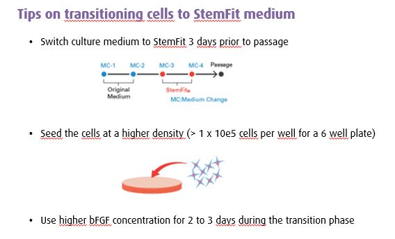 Transitioning to StemFit medium by Ajinomotofor induced pluripotent stem cell culture