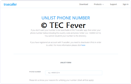 number remove from truecaller unlist page
