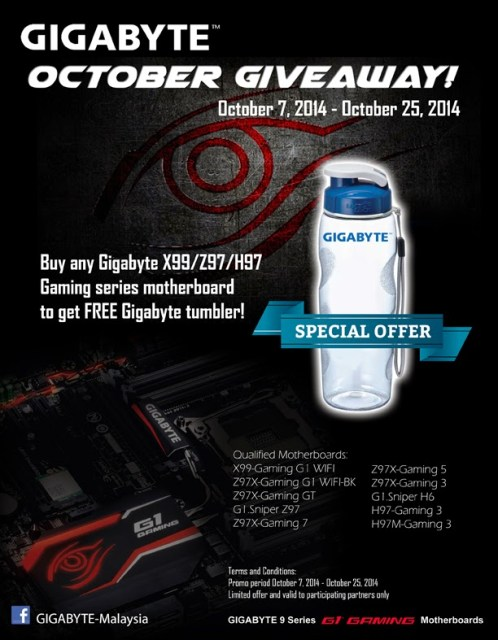 Gigabyte Malaysia is giving away Gigabyte tumbler for any purchase of their G1 Gaming Series X99/Z97/H97 Motherboard 3