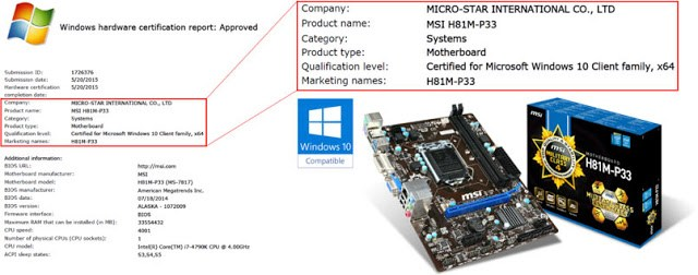 MSI first motherboard brand to be Windows 10 certified 2