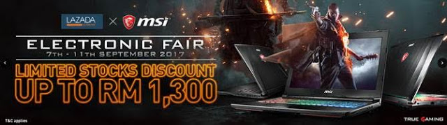 MSI Announces Promotion On Lazada's Electronics Fair With Discount Of Up To RM 1,300 3