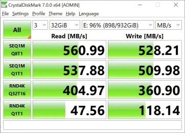 CrystalDiskMark Samsung 860 EVO 32GB (2)