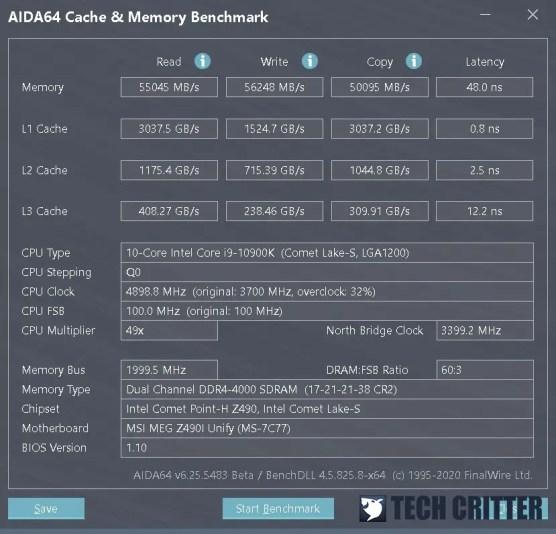 KLEVV CRAS XR RGB DDR4 4000 AIDA64 new