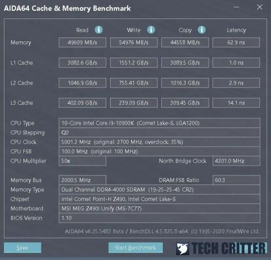 KLEVV CRAS XR RGB DDR4 4000 XMP AIDA64