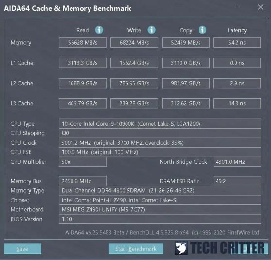 KLEVV CRAS XR RGB DDR4 4900 AIDA64 new