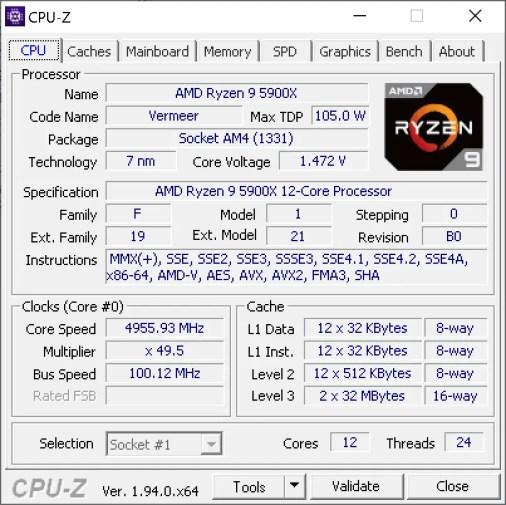 AMD Ryzen 9 5900X CPU Z 4.955GHz