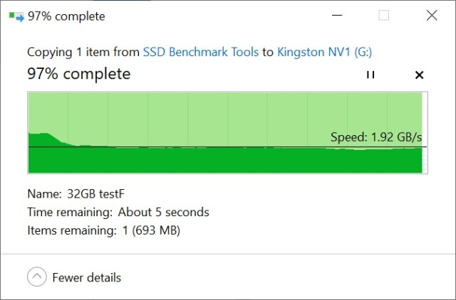 Kingston NV1 Copy from SSD 32GB a