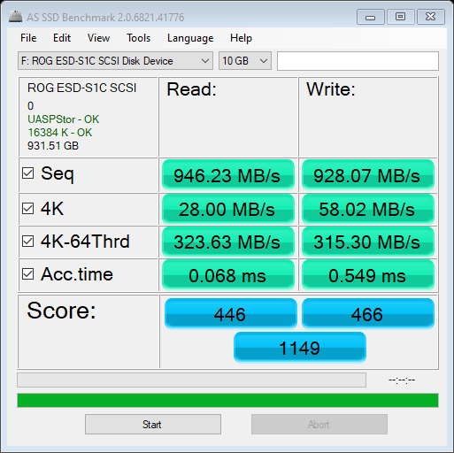 ASUS ROG Strix Arion AS SSD Benchmark 10GB