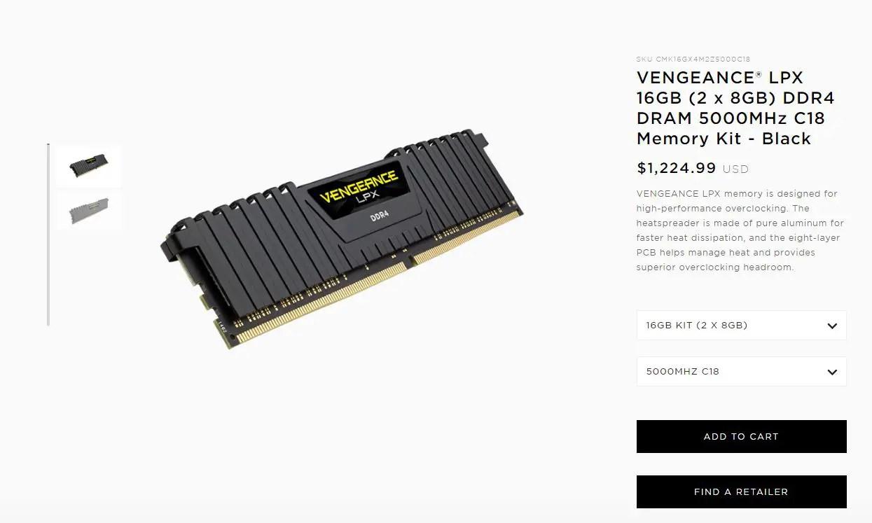 Corsair Unveils New Vengeance Lpx Ddr4 5000 16gb Memory Kit