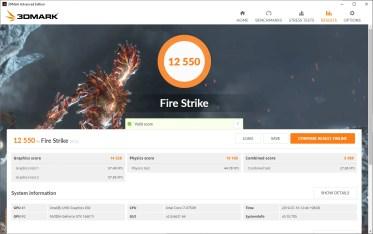 Gigabyte AERO 15 1660Ti 3DMark Fire Strike