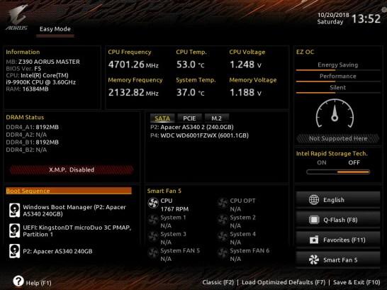 Gigabyte Z390 AORUS Master UEFI BIOS Easy Mode i9-9900K
