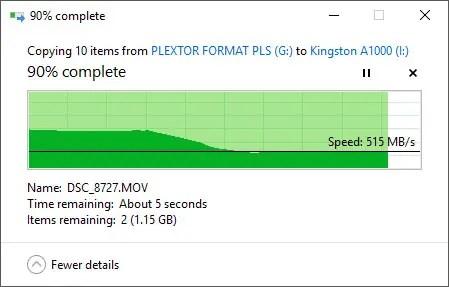 Kingston A1000 M.2 NVMe SSD copy in