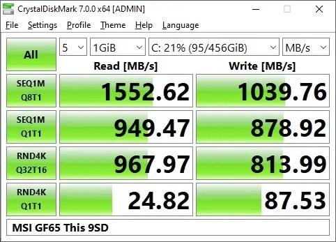 MSI GF65 Thin 9SD Crystal Disk Mark