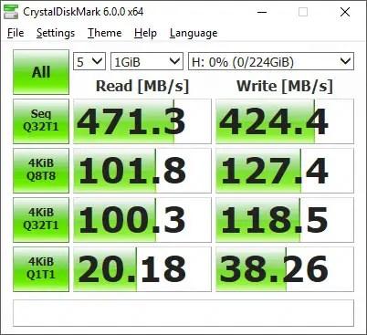 Pioneer P1 (APS-XS02) 240GB CrystalDiskMark random fill empty drive
