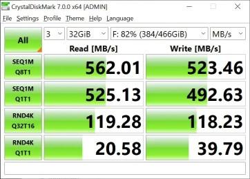 T-Force Delta Max 500GB 32GB Crystal Disk Mark (2)