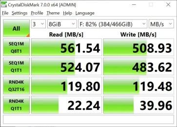 T-Force Delta Max 500GB 8GB Crystal Disk Mark (2)