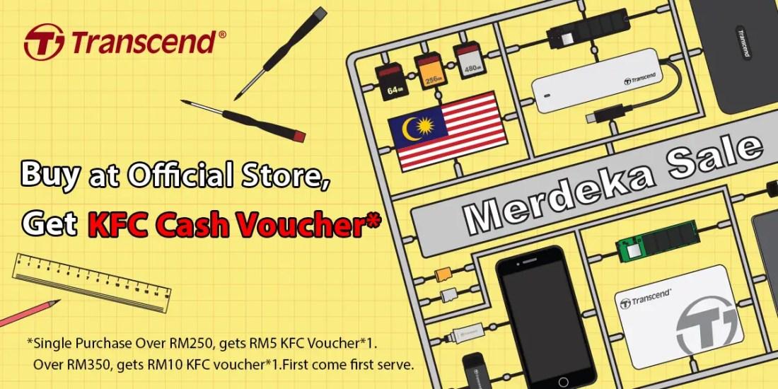 Transcend Lazada official store lazmall merdeka promotion kfc cash voucher