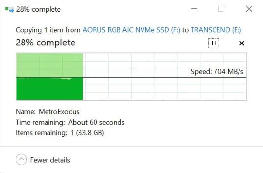 Transcend StoreJet ESD350C Copy from SSD (Intel)
