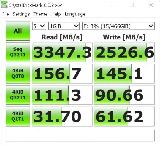 WD Black NVME SSD Crystal Disk Mark