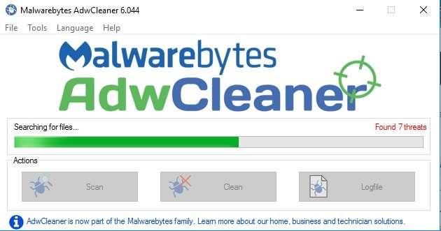 التخلص من البرامج الضارة والإعلانات والنوافذ المنبثقة AdwCleaner