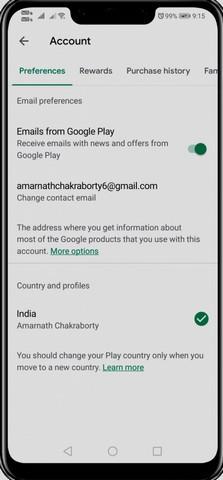 طريقة تغيير إعدادات الدولة / المنطقة فى متجر جوجل بلاى