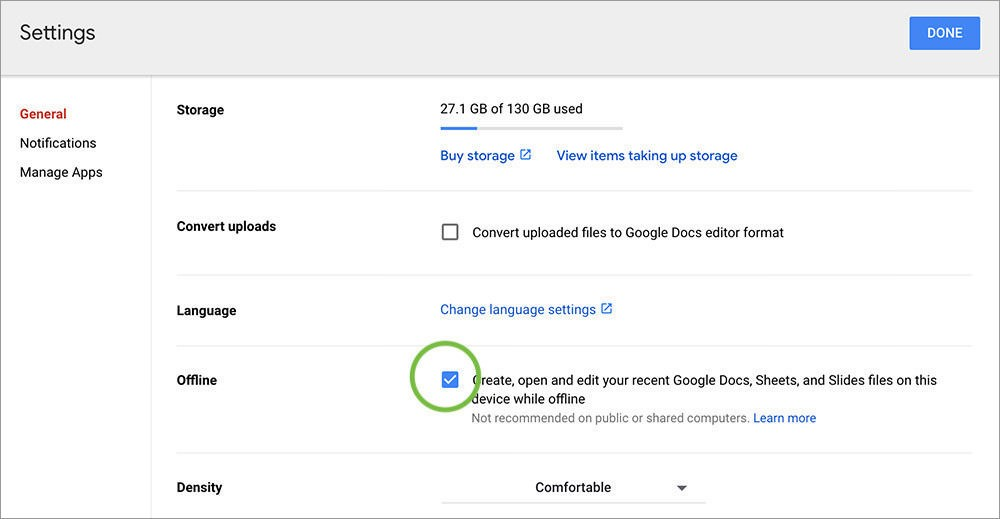 كيفية الوصول إلى ملفات جوجل درايف بدون إنترنت