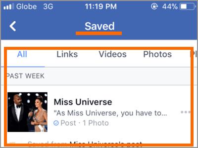 Facebook App Plus d'options SAUVAGES