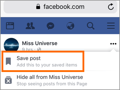 Facebook Rechercher des messages Enregistrer un message