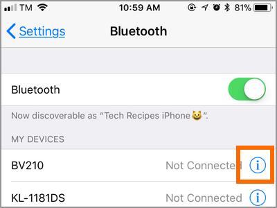 Paramètres de l'iPhone Périphérique Bluetooth Autre bouton Info
