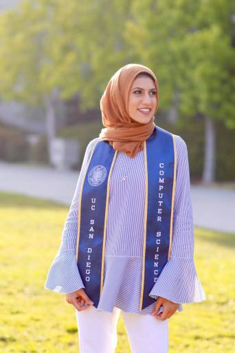 Nadah Feteih at her graduation from the CS department at UCSD