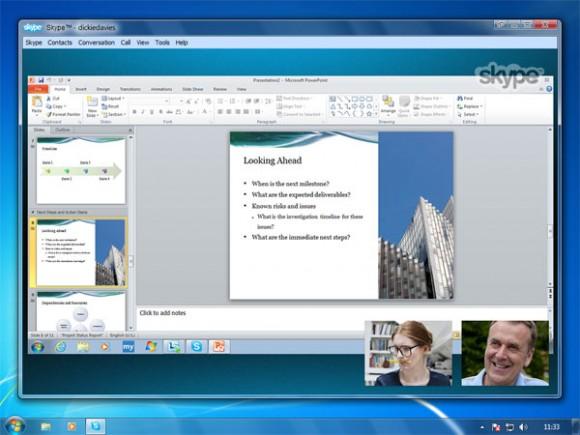 """group screen share 580x435 تحديث جديد لبرنامج المحادثة الشهير """"سكايب"""""""