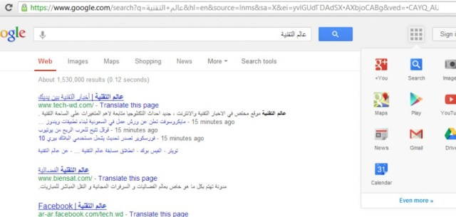new google search result page design