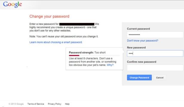 google-password-change