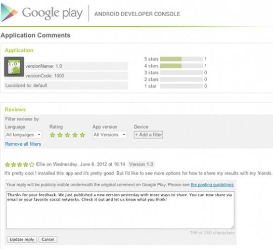 google play replying 540x492 قوقل تتيح لكافة المطورين الرد على التعليقات في متجر قوقل بلاي