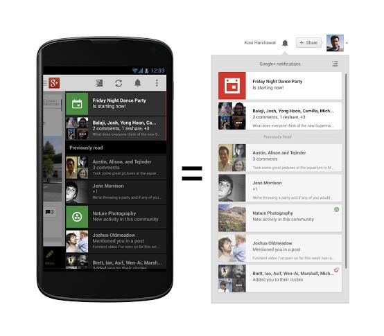 notifications a 1 مزامنة التنبيهات في قوقل بلس و تحديث تطبيق الأندرويد