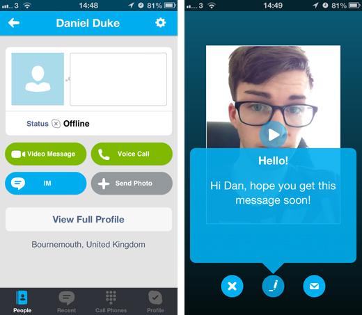 skype video message
