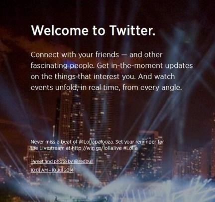 تويتر تحديد واجهة تسجيل الدخول