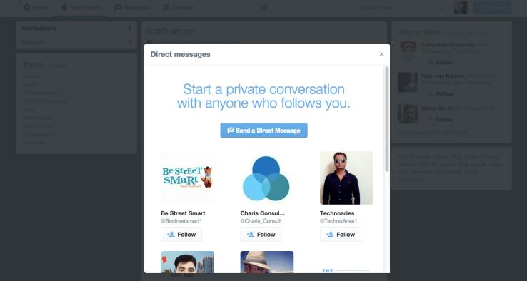 تويتر تختبر صندوق ترويجي يظهر مع الرسائل الخاصة